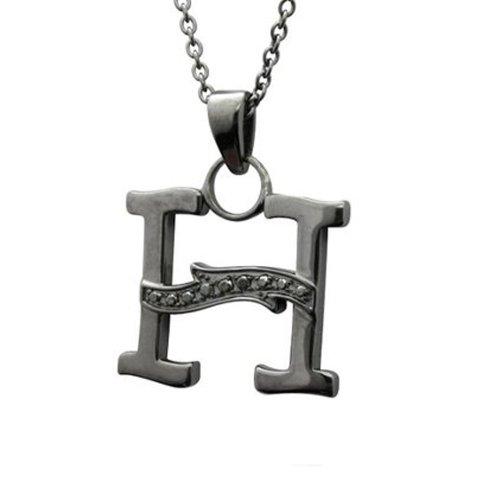Men's Black Sterling Silver Alphabet Initial Letter H Black Diamond Pendant Necklace (0.06 Carat) 0.06 Ct Initial Pendant