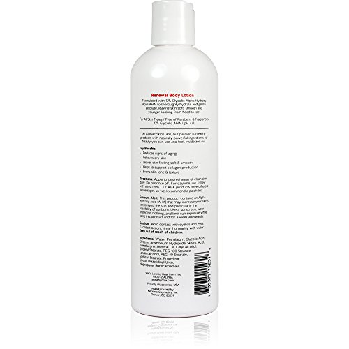 41 0t3k2PuL - Alpha Skin Care - Renewal Body Lotion, 12% Glycolic AHA, Supports Healthy Radiant Skin| Fragrance-Free and Paraben-Free| 12-Ounce