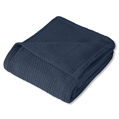 Sweet Home Collection 100% Fine Cotton Luxurious Basket Weave Blanket, Navy
