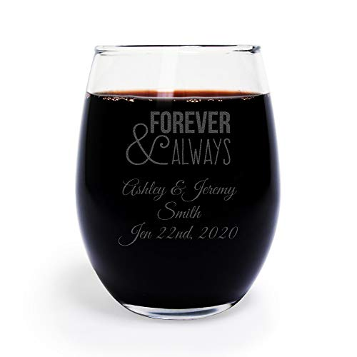 72 Pack Personalized Engraved Forever and Always 9 oz stemless Wine Glass, Wedding Favor,Party Favor, Anniversary Favor, Personalized Wine Glass, Bridal Shower Favors -