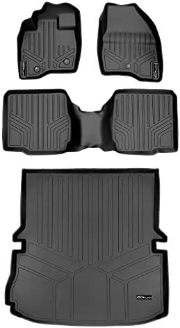 SMARTLINER Custom Fit Floor Mats 2 Rows and Cargo Liner Set Black for 2017-2019 Ford Explorer with 2nd Row Center Console
