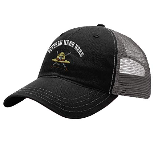 Custom Trucker Hat Richardson Military Drill Instructor Hat Embroidery Veteran Cotton Soft Mesh Cap Snaps - Black/Charcoal, Personalized Text Here