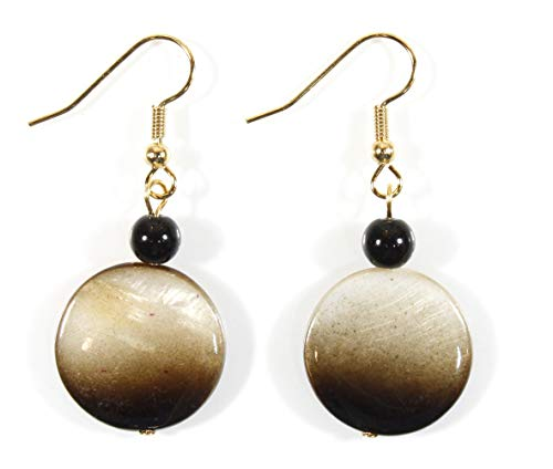 (Style-ARThouse Dusky, Brown Shimmering Brown to Tan Mother of Pearl Earrings; Dangle 1.5 Inches)