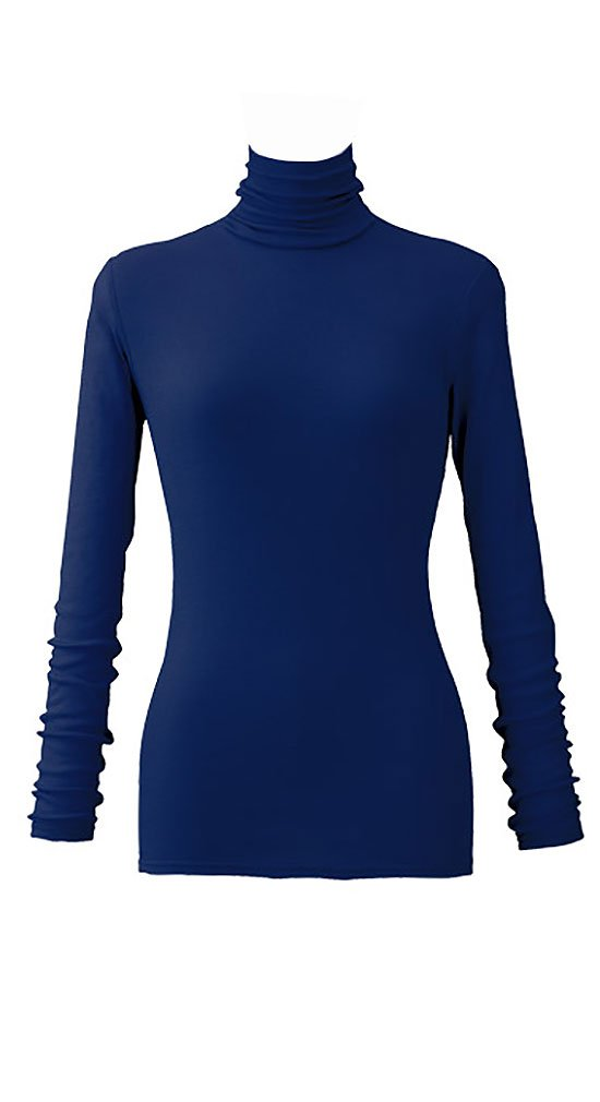 天使の綿シフォン レディースハイネック長袖 B074KQ3P4G L|モナコネイビー モナコネイビー L