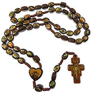 (R. Heaven Brown Wooden Saints Rosary Beads St. Francis of Assisi Crucifix Wood Jesus Mary)