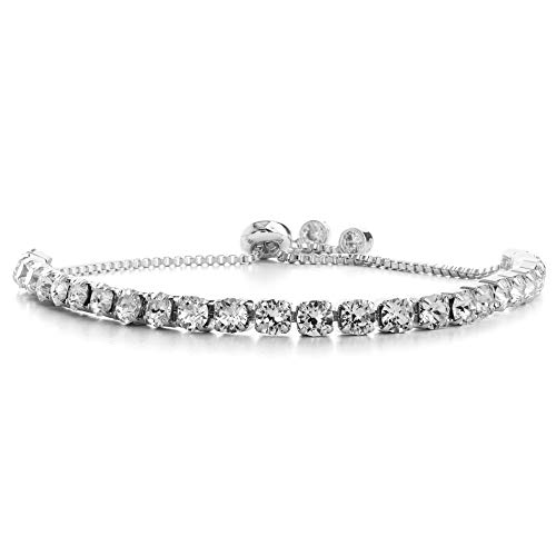 (Devin Rose Adjustable Bolo Style Tennis Bracelet for Women Made with 4mm Swarovski Crystal in Rhodium Plated Brass (White))