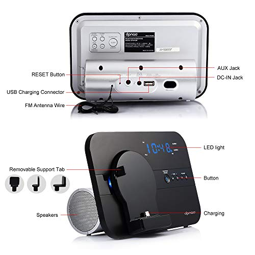dpnao Clock Radio Dual Alarm Charging Dock Station Charge/Play for iPhone XS/XR/X/8/8plus/7/7plus/6/6S/6Plus/ 5/5S/SE with Bluetooth AUX USB Charge Port Remote (Black)