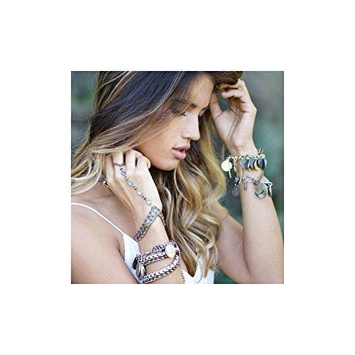Ettika - Bracelet en Or Jaune et Perles de Pyrite -Blue Pearls-ETK 0179
