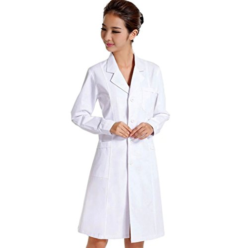 CalorMixs White Unisex 40 Inch Professional Medical Lab Coat (Small,White) -