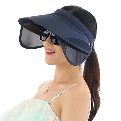 Womens Sun Hats with Retractable Visor Wide Brim Plastic Sun Visor UV Protection Summer Beach Fishing Hat Cap Navy Blue