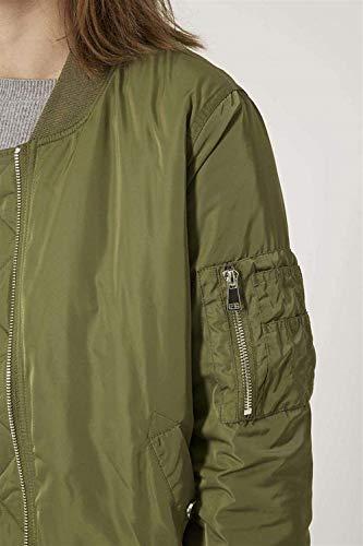 Chic Pilot Corto Giacca Armygreen Jacket Cerniera Collo Lunga Vita Manica Moda Donna Cute Bomber Cappotto Alta Di Coreana Autunno Monocromo Elegante Con Biker 1nqTaB