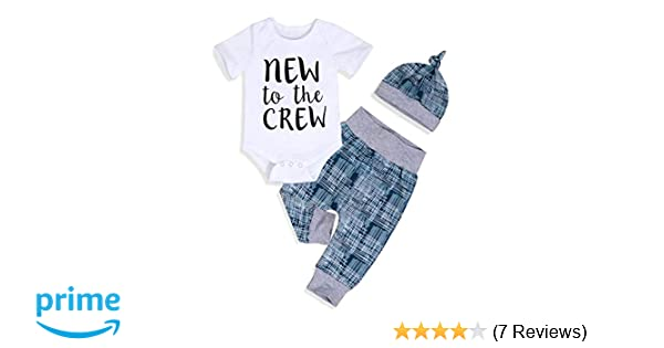 2bd5527f6 Amazon.com  Newborn Baby Boy Clothes New to The Crew Letter Print ...