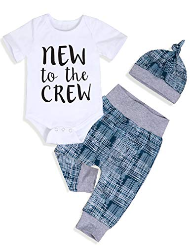 6bace2774 Newborn Baby Boy Clothes New to The Crew Letter Print Romper Long Pants Hat  3PCS Outfits