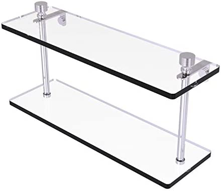 Allied Brass FT-2 16 Foxtrot Collection 16 Inch Two Tiered Glass Shelf, Polished Chrome