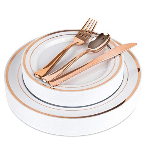 Elegant Rose Gold Plastic Plates with Plastic Silverware - 125 Piece Plastic Party Plates and Cutlery for Wedding, Reception, Buffet - Service for 25 Guests Disposable Plates for Party (Rose Gold)