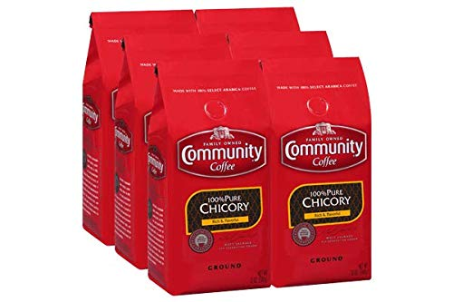 Community Coffee 100% Pure Chicory Medium Roast Premium Ground 12 Oz Bag (6 Pack), Rich Flavorful Taste Naturally Decaf