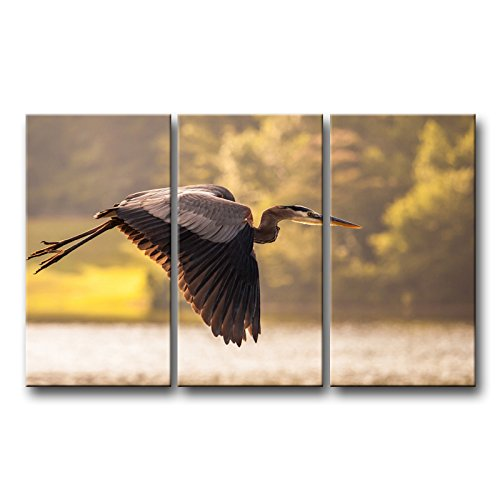 - So Crazy Art 3 Piece Wall Art Painting Heron Crane Bird Flying Across Lake Prints On Canvas The Picture Animal Pictures Oil For Home Modern Decoration Print Decor