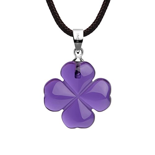 - iSTONE Four Leaf Lucky Birthstone Necklace Love Heart Pendant Fine Amethyst Crystal Necklace 16 Inch Rope Chain