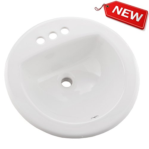 Hotis Art 4-Inch Centers Small Basin Self-Rimming Undermount Drop-In Porcelain Ceramic White Vessel Lavatory Vanity Bathroom Sink£¬with 4-Inch Centers