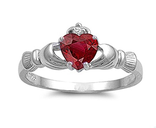 Sterling Silver Women's Simulated Ruby Claddagh Heart Ring Fashion Band 9mm Size 12