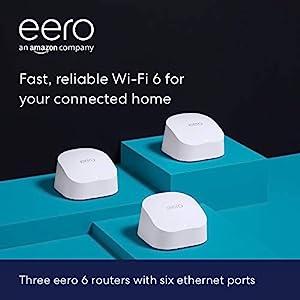 Amazon eero 6 dual-band mesh Wi-Fi 6 system with built-in Zigbee smart home hub (3-pack, three eero 6 routers)