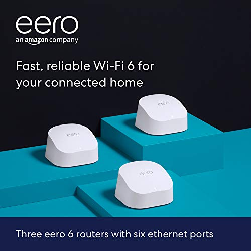 Introducing Amazon eero 6 dual-band mesh Wi-Fi 6 system with built-in Zigbee smart home hub (3-pack, three eero 6 routers)