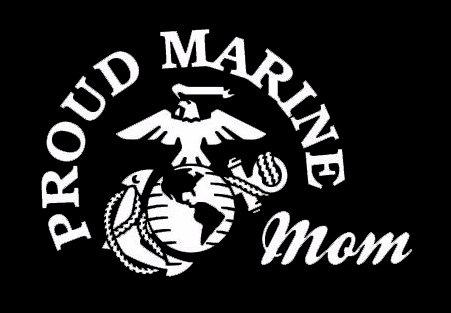 (Makarios LLC Proud Marine Mom Decal Vinyl Sticker Cars Trucks Vans Walls Laptop MKR  WHITE  5.5 x 3.5 IN MKR177)