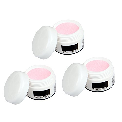 3 Bote Uñas Polvo Acrílico Porcelana Rosa Brillante Manicura fitTek