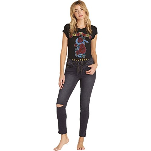 Billabong Women's Side By Side Skinny Jeans Black Pebble 24