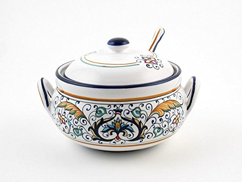 Hand Painted Italian Ceramic Large Sugar Bowl Rinascimento - Handmade in Deruta by Fima
