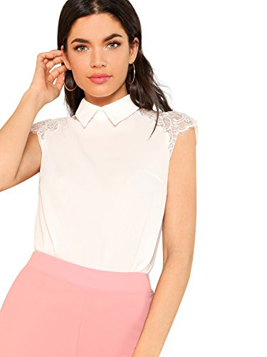 Floerns Women's Lace Splice Peter Pan Collar Cap Sleeve Blouse Tops White M