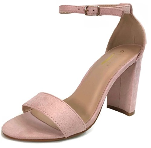 (Women's Ankle Strap Block High Heel Sandal, BlushSuede, 6.5)