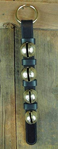 Nohma Leather 4 Classic Brass Sleigh Bells on Leather Strap, Door Hanger Amish Handmade