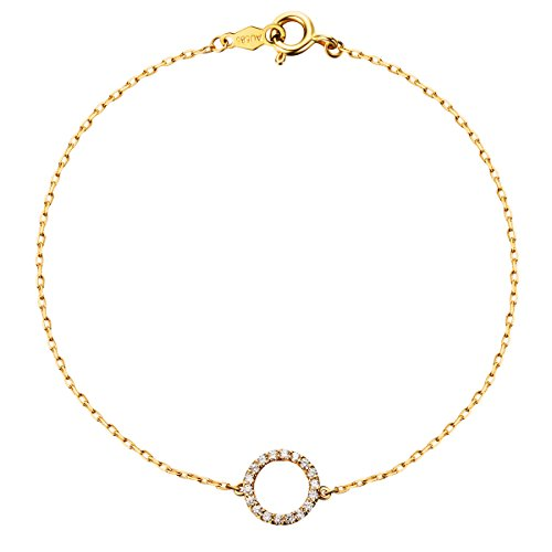 Solid 14K Yellow Gold Round Shape Pendant Gold Bracelets for Women 6.70 inch by Carleen