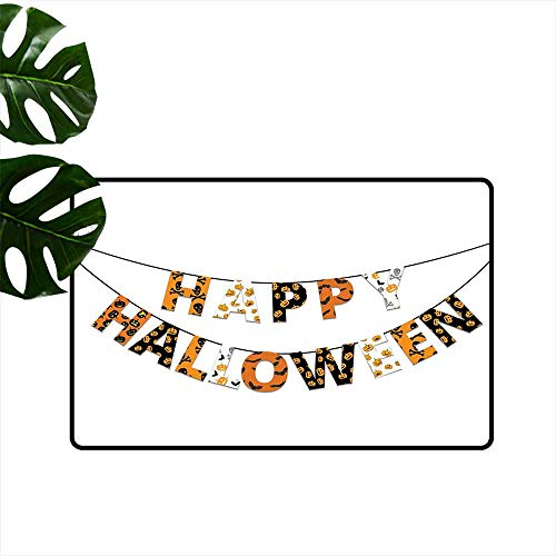 PEONIY&HOME Halloween,Mats Happy Halloween Banner Greetings Pumpkins Skull Cross Bones Bats Pennant Indoor mat W 16