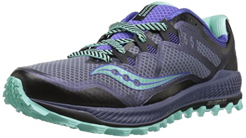- Saucony Women's Peregrine 8 Sneaker, Grey/VIO/Aqua, 9.5 M US