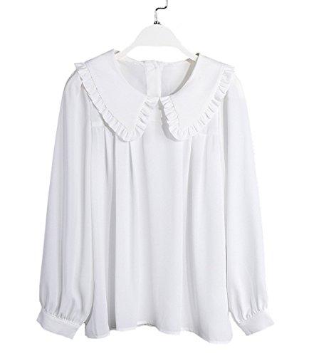 PurpuraErizo Mujeres Camisa De Gasa Camisas Con Cuello De Hoja De Loto Blanco