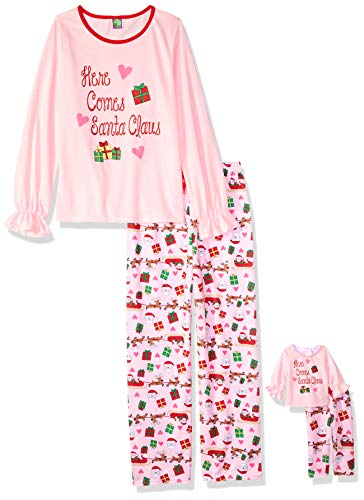 Dollie & Me Girls' Apparel Christmas Screen-Printed Pajamas with Matching Doll Outfit in, Pink Size 14