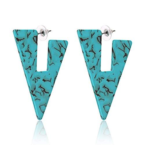 ISALOE Statement Triangle Acrylic Hoop Earrings Geometric Floral Resin Triangle Drop Earrings Fashion Jewelry (Turquoise)