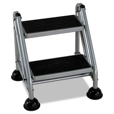 (Bridgeport 11824GGB1 Rolling Commercial Step Stool, 2-Step, 19 7/10 Spread, Platinum/Black)