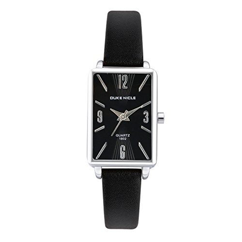 Womens Fashion Watch,Ladies Silver Rectangular Case Luxury Elegant Dress Waterproof Quartz Casual Wrist Watches for Ladies with Genuine Leather Band (Black) Black Leather Square Watch