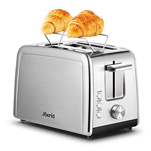 Toaster 2 Slice, Joerid Stainless Steel Toaster with Warming Rack, Extra-Wide Slot & 7 Shade Settings with Defrost/Reheat/Cancel Function, Small Toaster for Bread Waffles