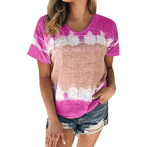 (♖Loosebee♜ Women's Color Block Long/Short Sleeve T Shirt Casual Round Neck Tunic Tops Hot Pink)