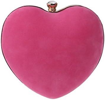 GSHGA Bolso De Embrague De Las Mujeres De Terciopelo Forma De Amor Bolsa De Noche Bolso Nupcial Bolsos Bolsos De Hombro,Pink