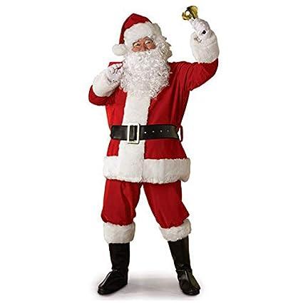 GLITZFAS 5pcs Weihnachtsmann Kost/üm Nikolauskost/üm Santa Claus-Erwachsenenkost/üm Partei Cosplay Outfits anz/üge L
