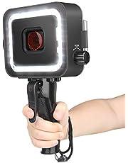 D&F Luz Buceo 900LM LED Luces Sumergibles 30m Caja de Carcasa Impermeable Buceo Luz de Relleno Recargable para GOPRO Hero Black 7/6/5/Hero 2018 con Filtro Rojo y Disparador de Obturador