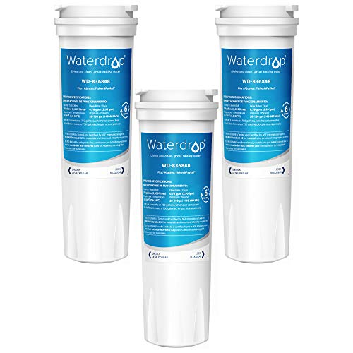 Waterdrop Refrigerator Water Filter, Compatible with Fisher & Paykel 836848, 836860, WF296, E522B, PS2067635, Pack of 3