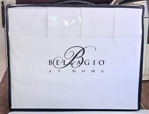 Bellagio 6-pc Bright White Sheet Set - 400 TC Queen Size (All Cotton) 2 Extra Pillowcases