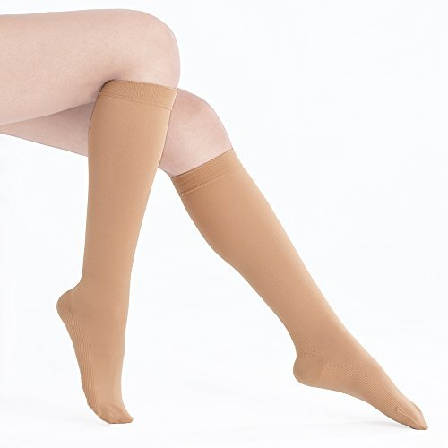 Fytto 1020 Graduated Compression Knee High Socks Women 15-20mmHg Circulatory,Varices Socks,Travel,Casual-Formal Hosiery, Nude, M