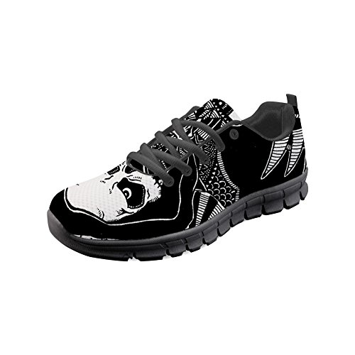 Women's Shoes Athletic Skull7 doginthehole Lightweight Print Skull Sneakers Flat Running wUCcpEIxq